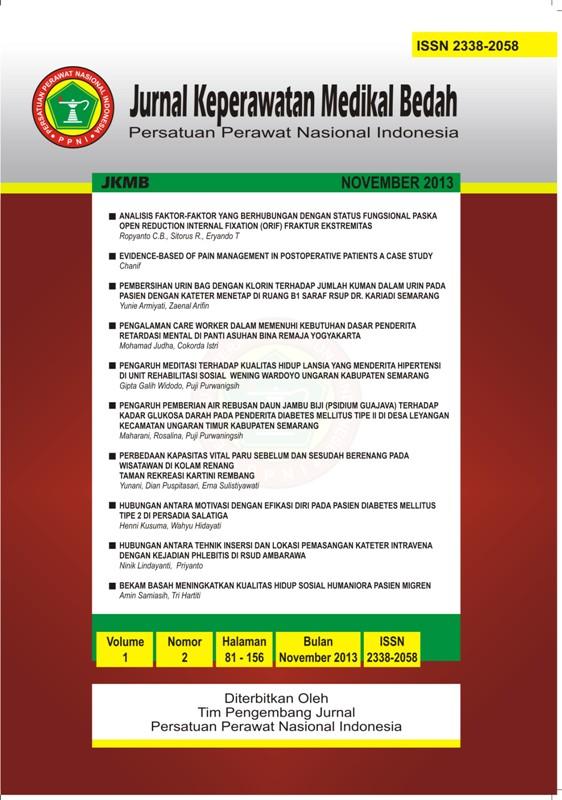 JKMB | Jurnal Keperawatan Medikal Bedah  | ISSN: 2338 - 2058